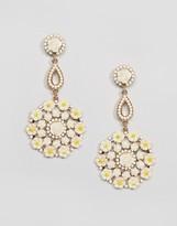 NY:LON Cream Floral Drop Earrings