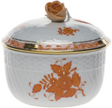 Herend Chinese Boutique Rust Covered Sugar Dish with Rose