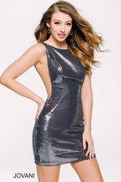 Jovani Sexy Sleeveless Sequined Mini Dress with Sheer Mesh Sides 41444