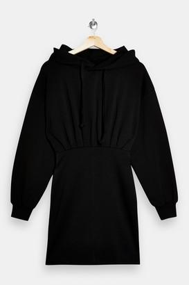 Topshop Black Hoodie Mini Dress