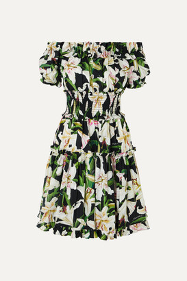 Dolce & Gabbana Off-the-shoulder Ruffled Floral-print Cotton-poplin Dress - Black