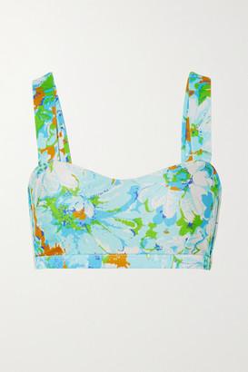 Faithfull The Brand Net Sustain Provence Floral-print Bikini Top - Blue