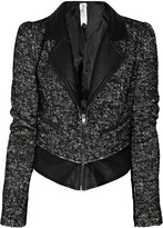 Leather-trimmed tweed biker jacket