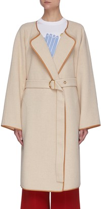 Chloé Leather trim belted double face coat