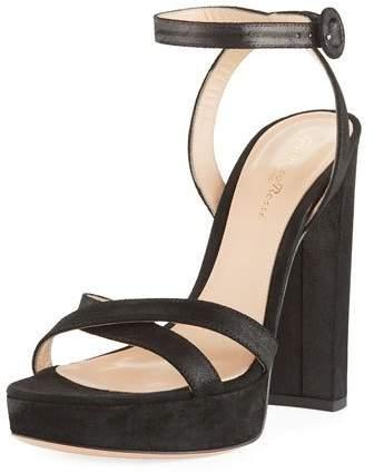 Gianvito Rossi Metallic Fabric Platform Ankle-Wrap Sandal