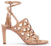 Chloé Cutout Suede Sandals - Beige