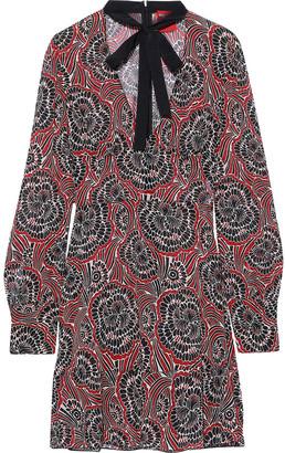 RED Valentino Pussy-bow Velvet-trimmed Chiffon Mini Dress