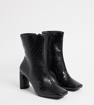 Z Code Z Z_Code_Z Exclusive Reese vegan square toe boots in black croc