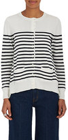 Sacai Women's Pleated-Back Striped Cotton Cardigan