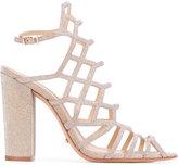 Schutz strappy glittery sandals - women - Cotton/Leather - 38