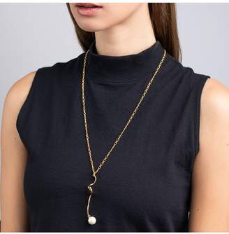 Kenneth Jay Lane Polished Gold Swirl With Pearl Drop Pendant Necklace