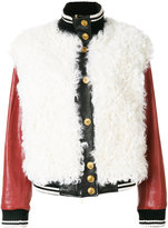 Fausto Puglisi leather bomber jacket - women - Lamb Skin/Sheep Skin/Shearling/Polyester/Wool - 38