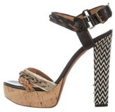 Lanvin Chain-Accented Leather Sandals
