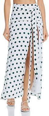 Peony Swimwear Polka Dot Slit Skirt Swim Cover-Up