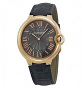 Cartier Men's Ballon Bleu De 40mm Leather Band Rose Gold Plated Case Automatic Watch W6920089