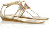 Plush embellished sandals
