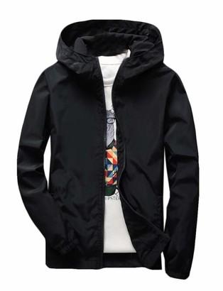 Yeirui Men Big & Tall Zip Up Solid Light Weight Windbreaker Jacket Hooded Coat Black US 4XL