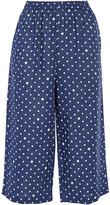 Comme des Garcons Polka-dot Linen Wide-leg Pants - Navy