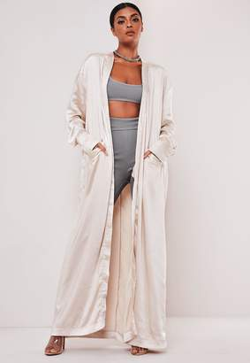 Missguided Sofia Richie X Champagne Long Satin Jacket