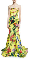 Monique Lhuillier Strapless Garden Floral-Print Gown, Yellow Pattern