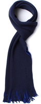 Boss Albas Navy Two Tone Knitted Wool Scarf