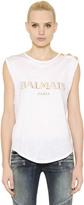 Balmain Logo Cotton Jersey Sleeveless Top
