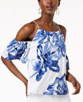 INC International Concepts I.n.c. Petite Cold-Shoulder Printed Top, Created for Macy's