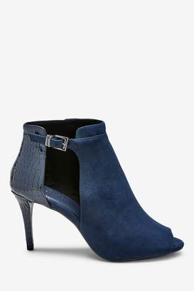 Next Womens Navy Forever Comfort Cut-Out Peep Toe Shoe Boots - Blue