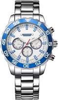Julius JAH-096D Male Men's White Dial Quartz Analog Silver Stainless Steel Calendar Waterproof Watch