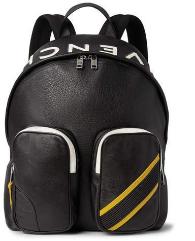 Givenchy Mc3 Appliquéd Full-Grain Leather Backpack