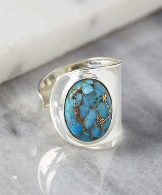Ys Gems YS Gems Women's Rings Blue - Blue Copper Turquoise & Sterling Silver Bypass Ring
