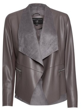 Dorothy Perkins Womens Taupe Pu Waterfall Jacket