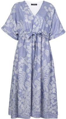 Natori Floral-Print Drawstring-Waist Dress