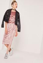 Missguided Velvet Pleated Midi Skirt Pink