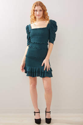 Olivaceous Forest Green Puff Sleeve Smocked Dress Forest Grn M