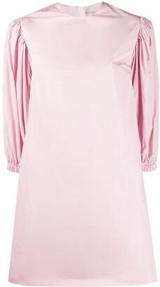MSGM Puff-Shoulder Midi Dress