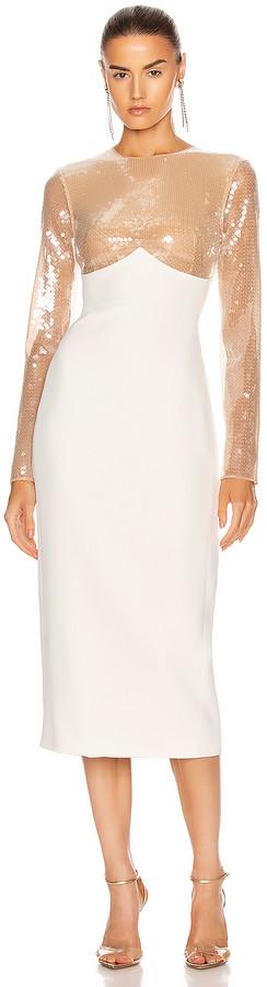 David Koma Sequin Empire Long Sleeve Midi Dress in Beige & White | FWRD