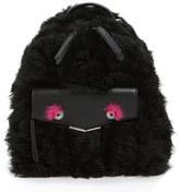 Fendi 'Mini Monster' Genuine Shearling & Genuine Mink Fur Backpack - Black