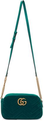 Gucci Green Velvet Small GG Marmont Shoulder Bag