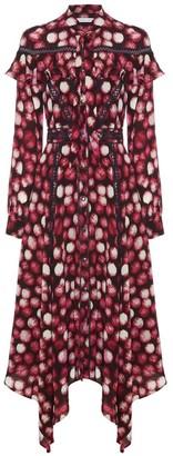 Diana Arno Fiona Ruffled Midi Dress In Raspberry