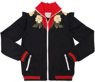 Gucci Floral Embroidered Jersey Sweatshirt
