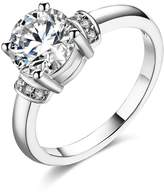 Daesar Plated Wedding Rings for Women Cubic Zirconia 4-Prong Promise Ring Size 6
