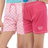 Board Angels Girls Daisy Print/Plain Two Pack Jersey Shorts Pink