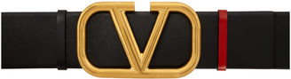 Valentino Reversible Black and Red Garavani VLogo Belt