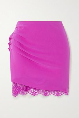 Fleur Du Mal Lace-trimmed Draped Crepe De Chine Mini Skirt