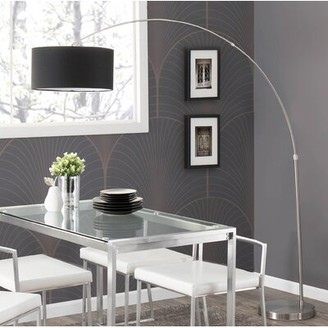 "Wade Logan Jessup 76"" Arched/Arc Floor Lamp Shade Color: Black, Base Finish: Brushed Nickel"