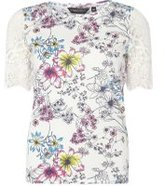 Dorothy Perkins Womens Ivory Floral Lace Sleeve Top- White