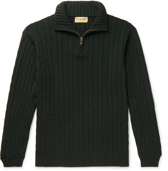 Purdey Hammersmith Cable-Knit Cashmere Half-Zip Sweater