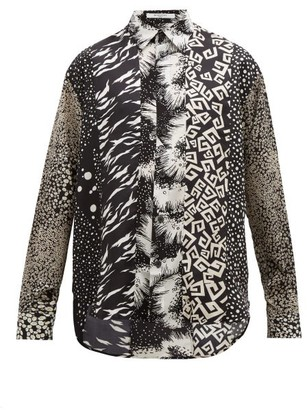 Givenchy Panelled G-print Silk-twill Shirt - Mens - Multi