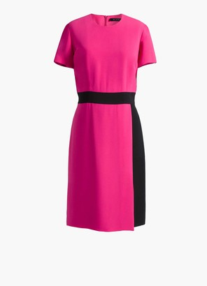 St. John Contrast Color Waistband Wrap Dress
